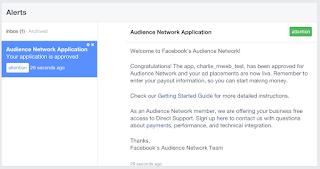 Notifikasi Persetujuan Audience Network Facebook